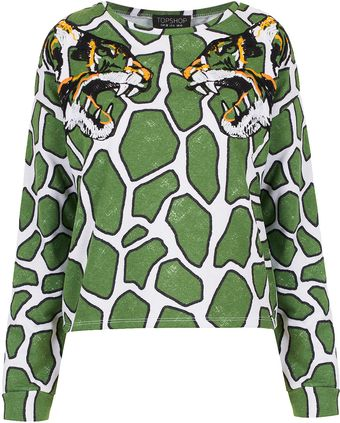 Topshop Embroidered Tiger Sweat - Lyst