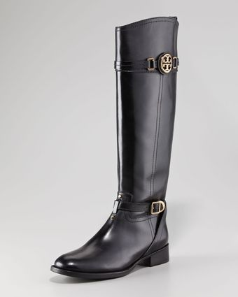 Tory Burch Calista Logo Leather Riding Boot Black - Lyst