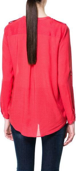 Zara Red Polka Dot Blouse 105