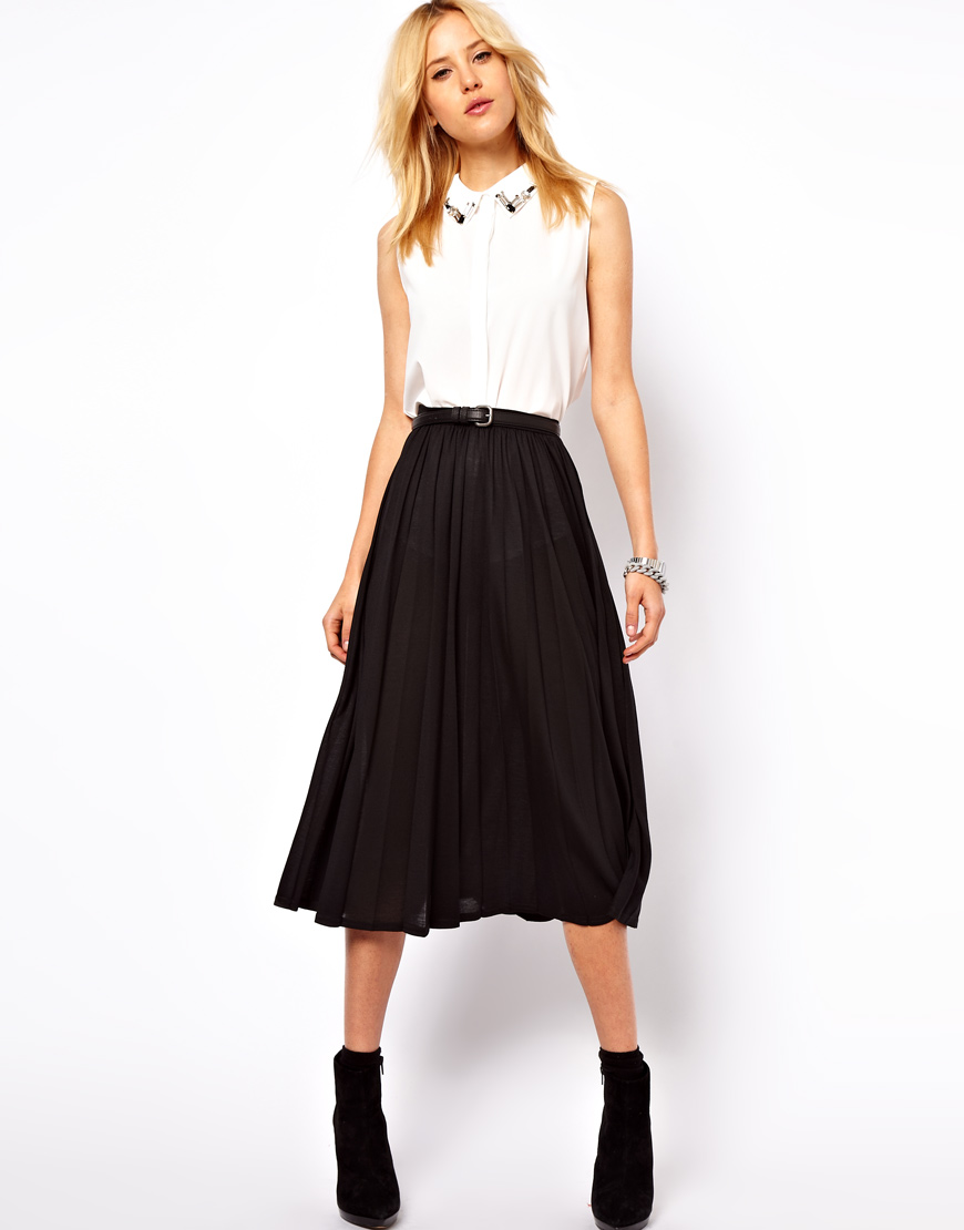 Asos collection Asos Full Midi Skirt with Pleats in Black | Lyst