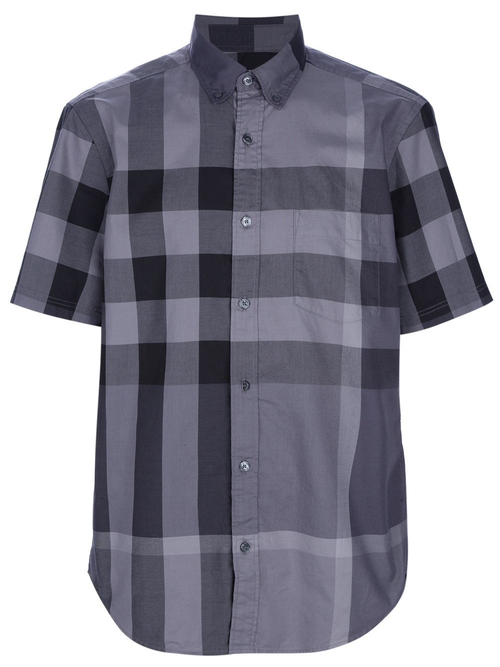 Lyst burberry brit checked short sleeve shirt in gray for Burberry brit checked shirt