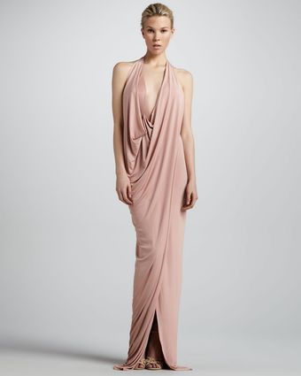Donna Karan New York Draped Jersey Evening Gown Nectar - Lyst