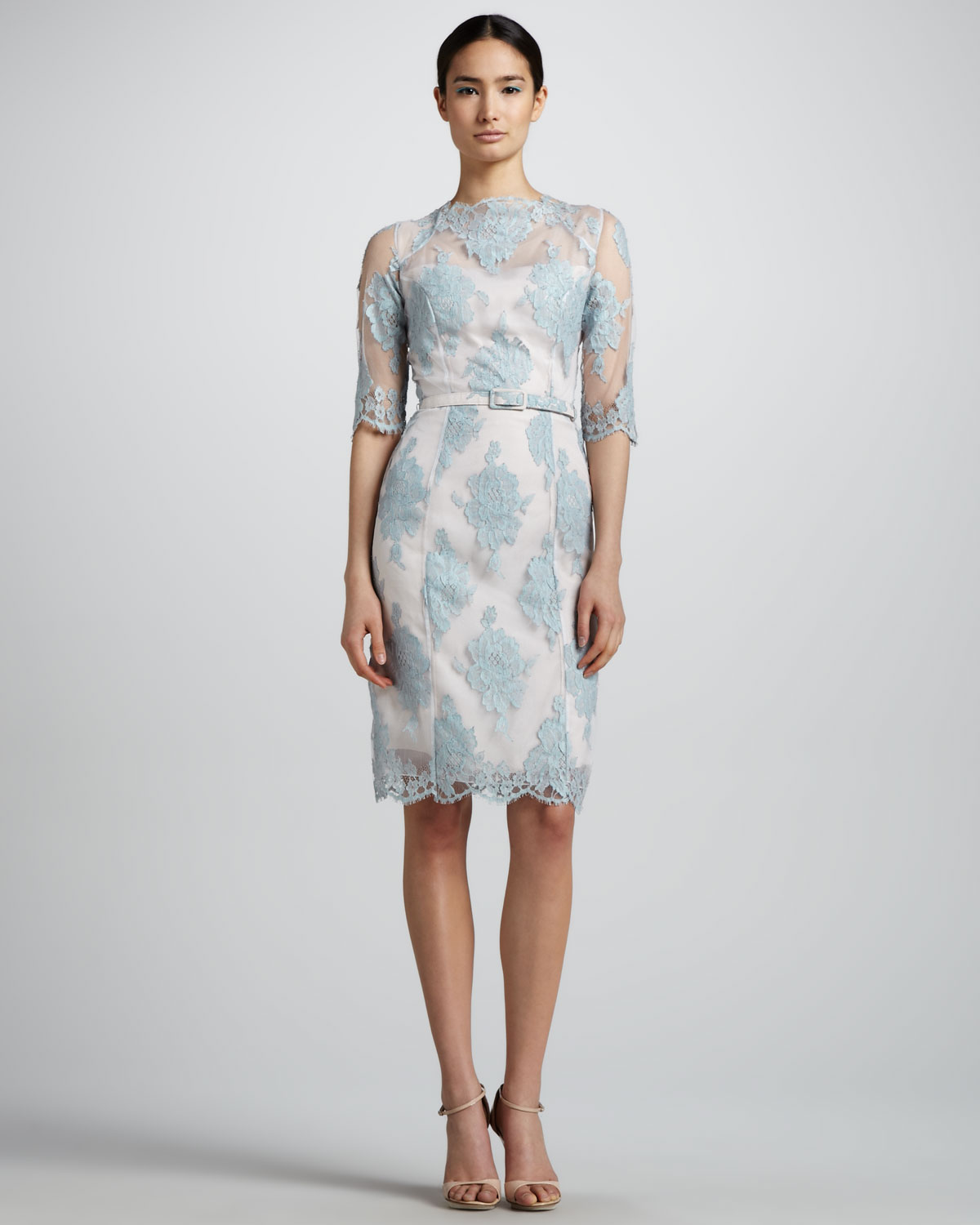Lyst Erdem Anna Lace Elbowsleeve Dress In Blue