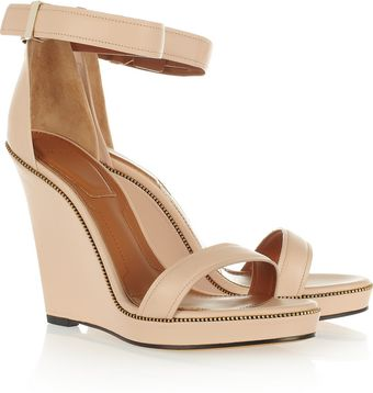 Givenchy Zipdetailed Leather Wedge Sandals - Lyst