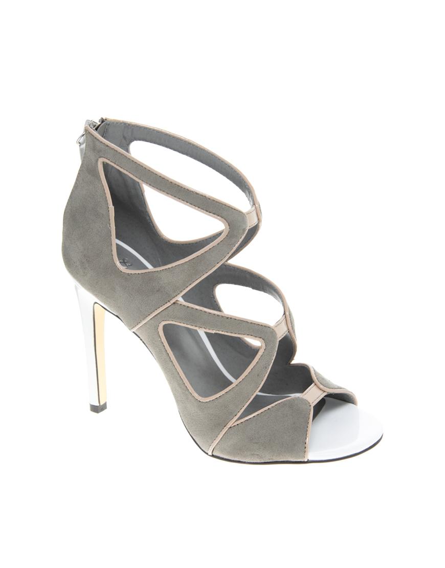 Lyst Asos Asos Hazard Heeled Sandals In Gray