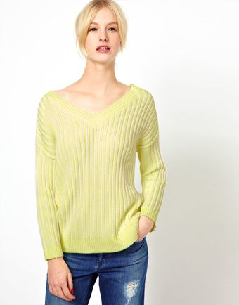 Boutique By Jaeger Neon Ribbed Reversible Chunky Knit - Lyst