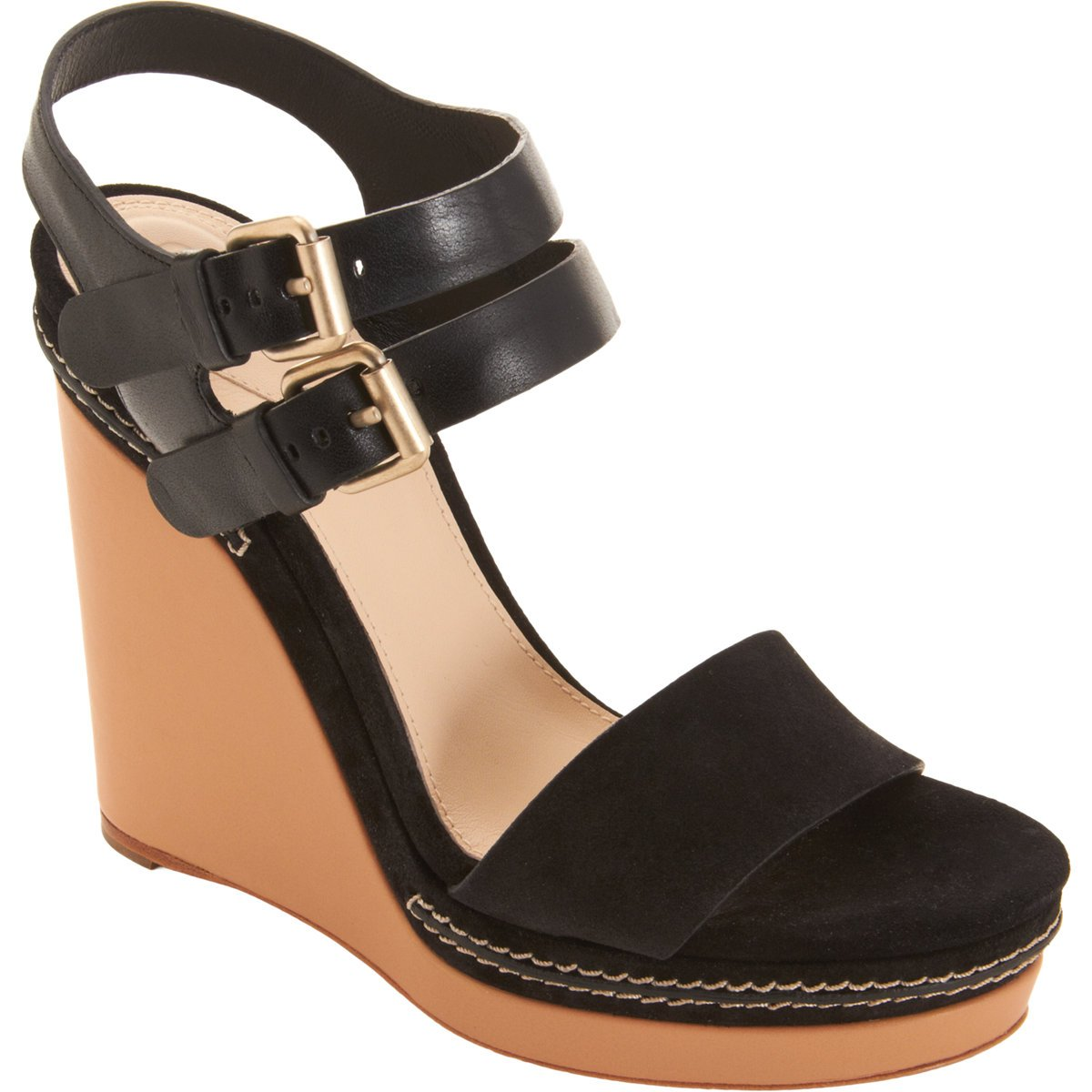 Chloé Double Ankle Strap Wedge Sandal in Black | Lyst