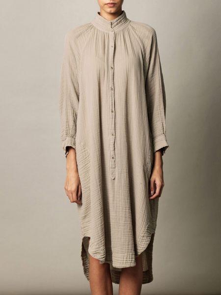 Raquel Allegra Poet Dress In Beige Lyst