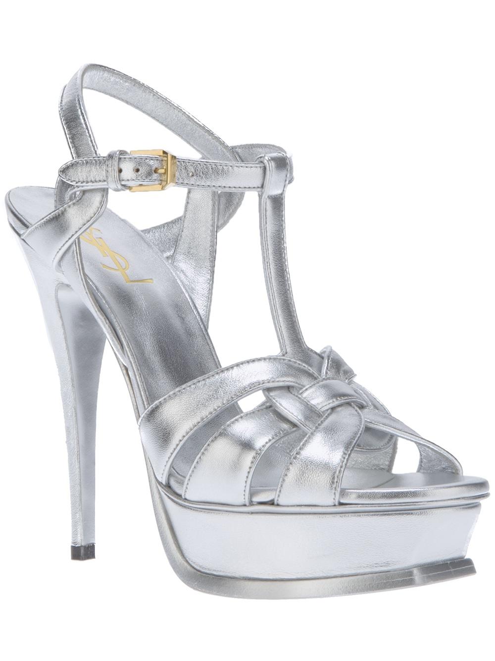 Lyst Saint Laurent Metallic High Heel Sandal In Metallic
