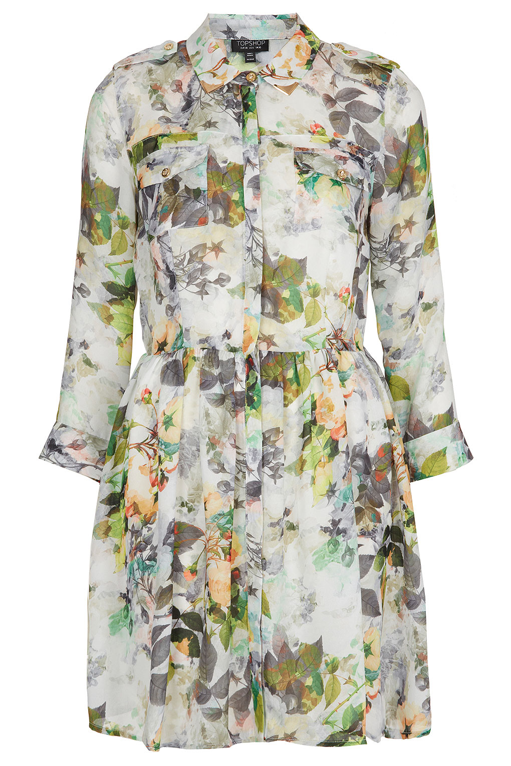 Lyst Topshop Floral Shirt Dress In Natural