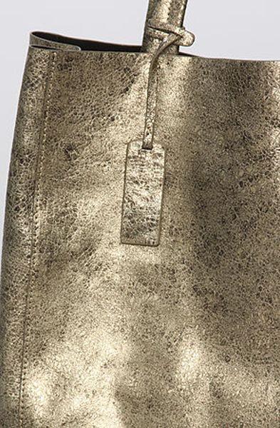 Yosi Samra The Muted Metallic Tote Bag In Gold Lyst