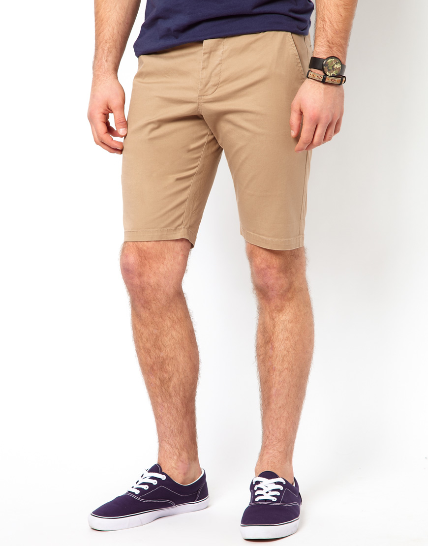 Asos Skinny Chino Shorts In Mid Length in Natural for Men | Lyst