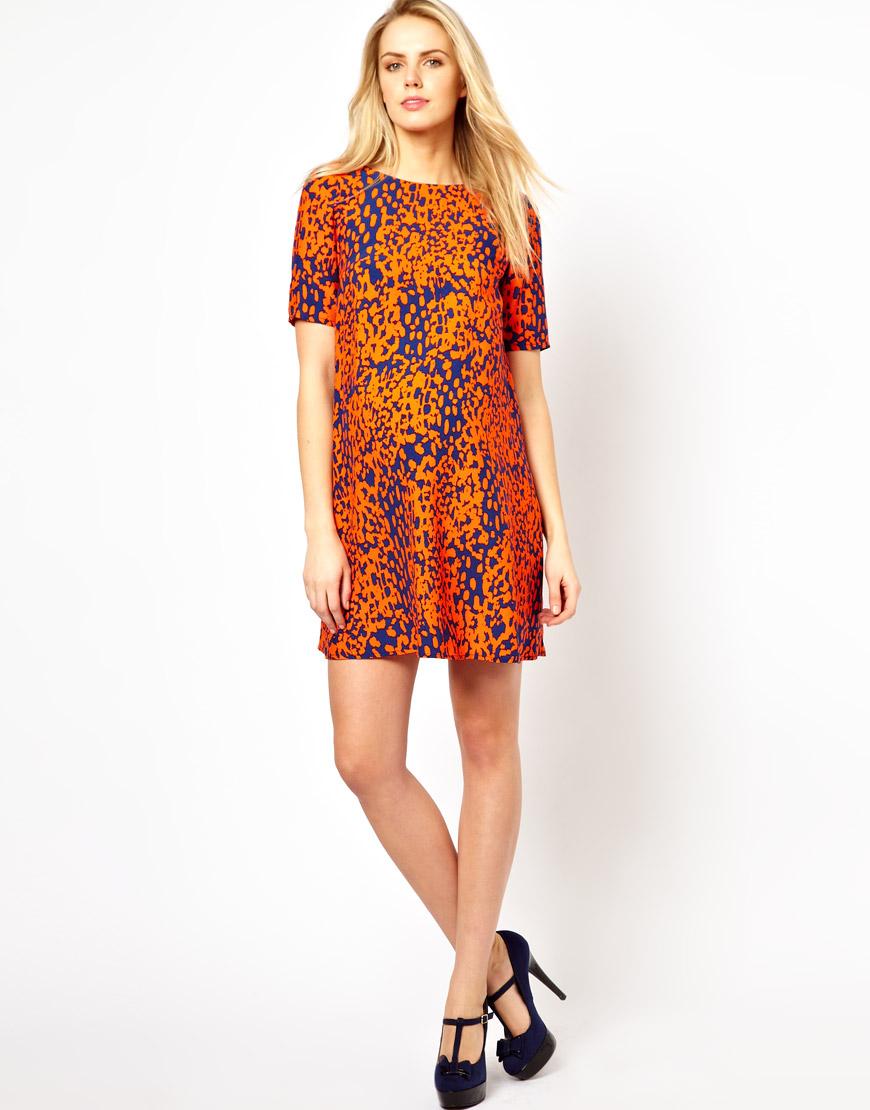Lyst - Asos Shift Dress in Animal Print in Orange