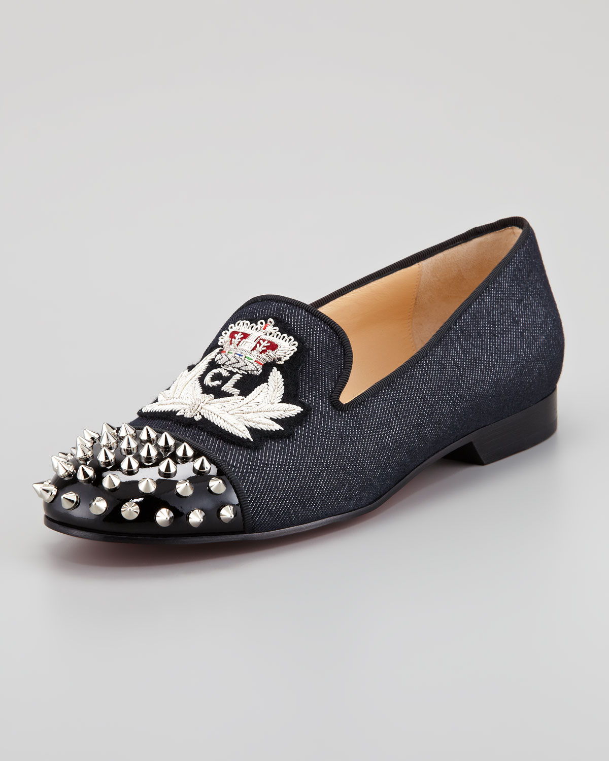 Christian louboutin Intern Spiked Captoe Denim Red Sole Loafer in ...