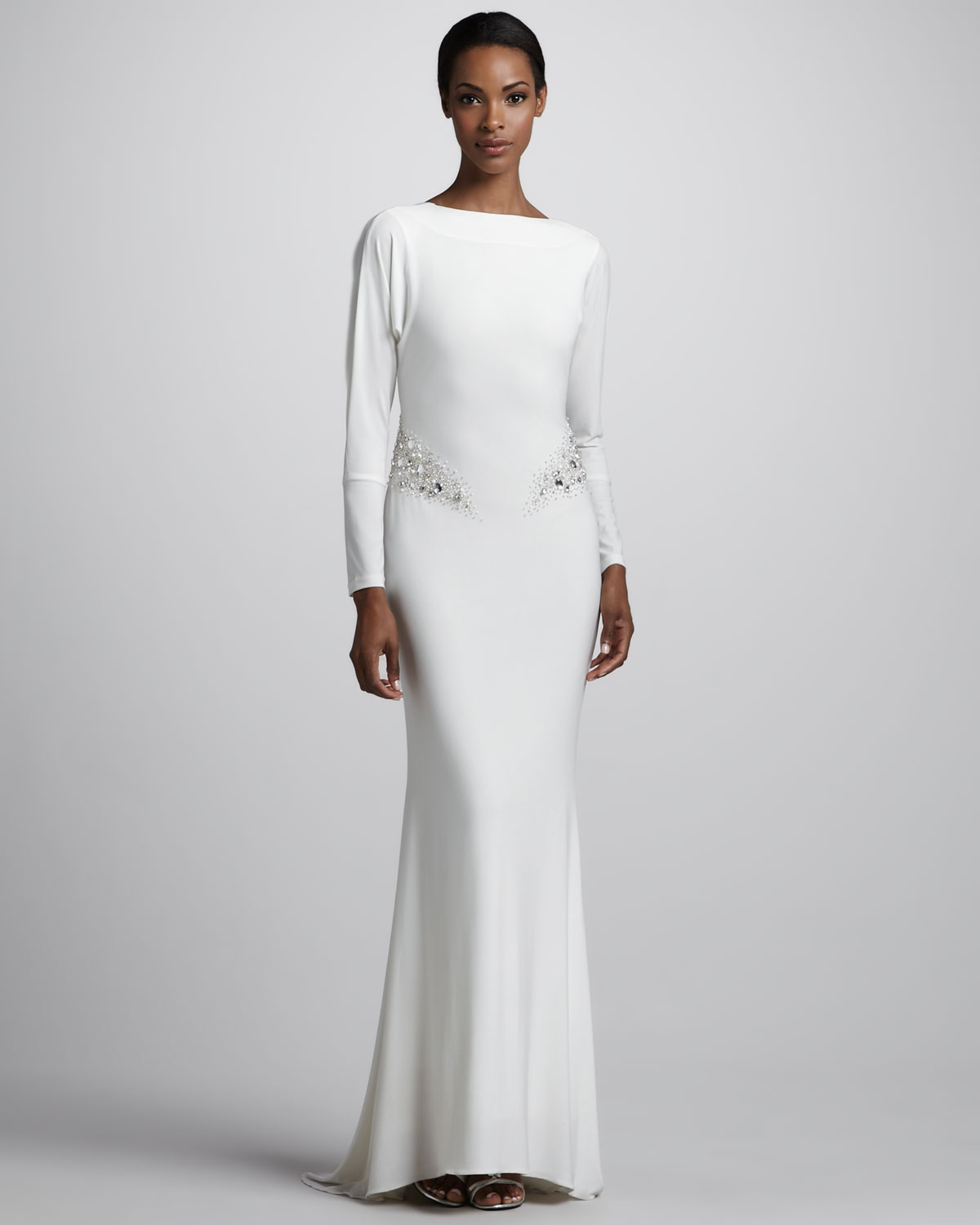 Lyst - Badgley Mischka Long sleeve Jersey Gown in White
