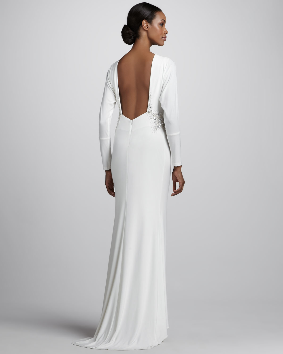Badgley Mischka Long Sleeve Jersey Gown In White Lyst