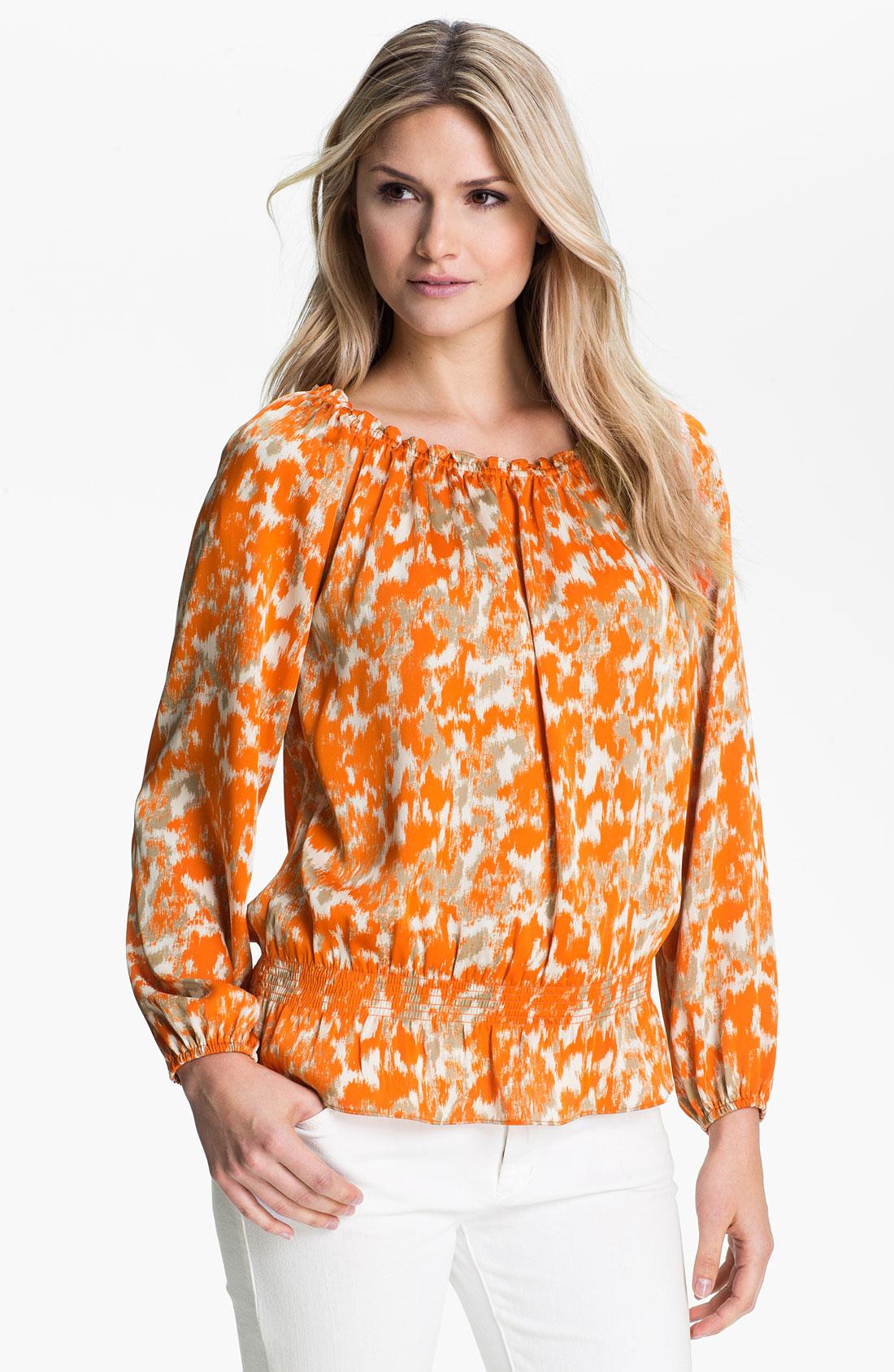 michael michael kors print peasant blouse in orange mandarin lyst. Black Bedroom Furniture Sets. Home Design Ideas