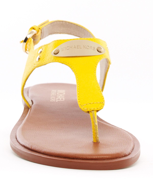 Lyst Michael Kors Flat Tstrap Thong Sandal In Yellow
