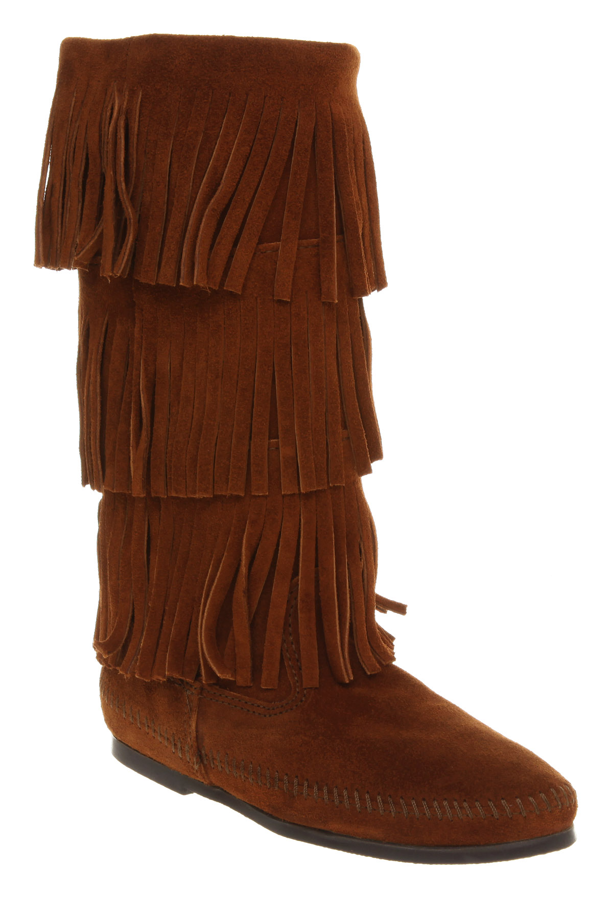 minnetonka calf hi layer fringe boot suede in brown