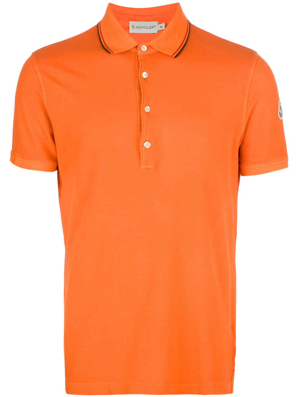 Moncler fitted polo shirt in orange for men lyst for Orange polo shirt mens