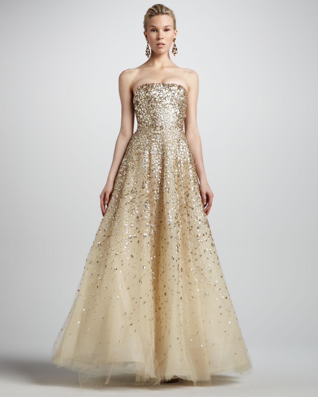 Lyst - Oscar De La Renta Strapless Floral Paillette Ball Gown ...