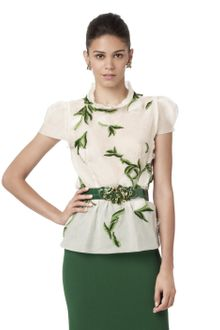 Oscar de la Renta Short Sleeve High Neck Embroidered Blouse - Lyst