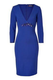 Roberto Cavalli Cobalt Sequined Front Sheath Dress - Lyst