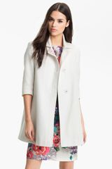 Tahari Three Quarter Sleeve Walking Coat - Lyst