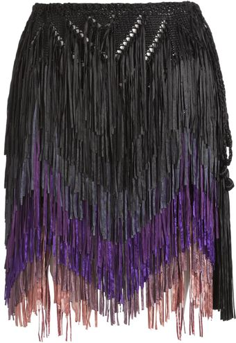 Tim Ryan Purple Fringed Skirt - Lyst