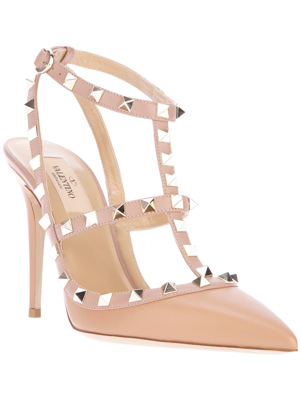 462909a9e2f3 Lyst - Valentino Studded Sandal Pump in Natural