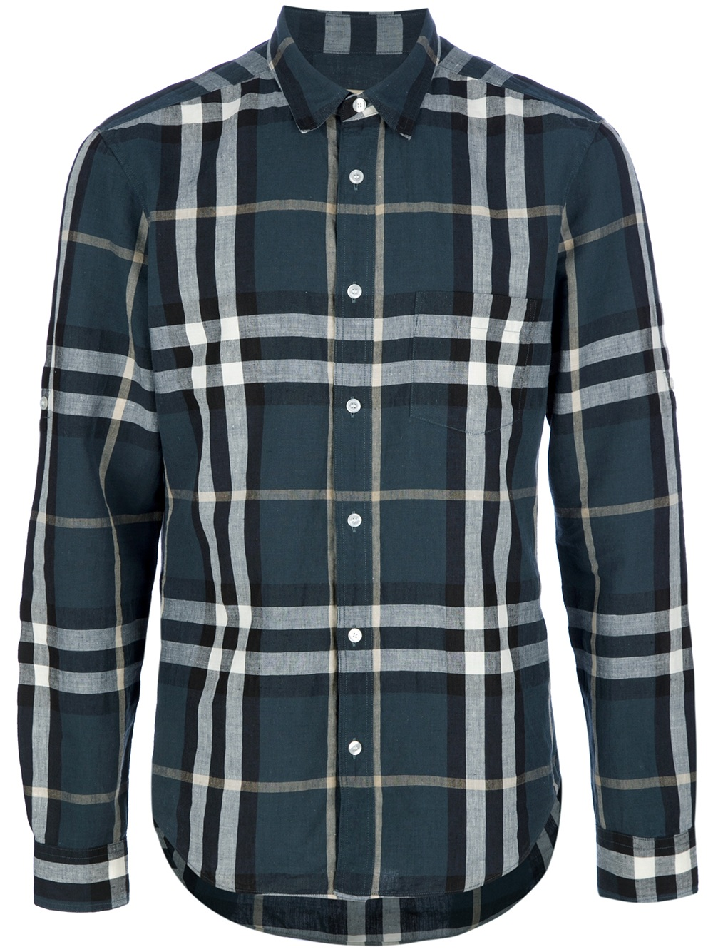 Burberry brit jesse printed cotton shirt in blue for men for Burberry brit checked shirt