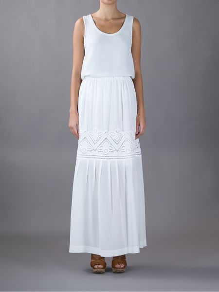 ermanno scervino pleated maxi skirt in white lyst