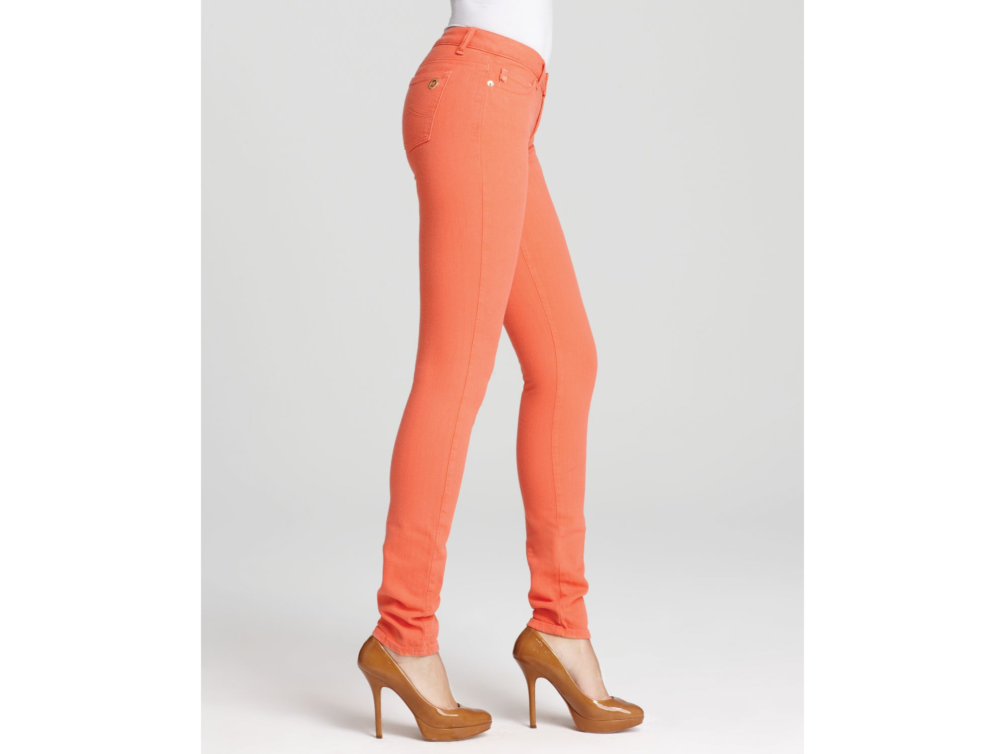 Michael michael kors Jewels Colored Skinny Jeans in Orange | Lyst
