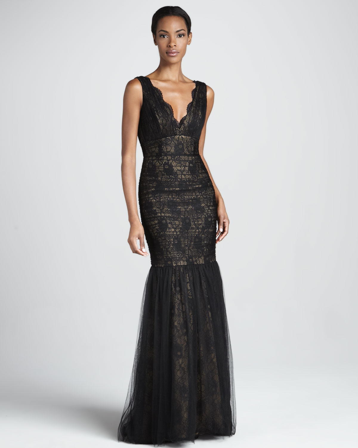 Lyst - Ml monique lhuillier Sleeveless Lace Tulle Gown in Black