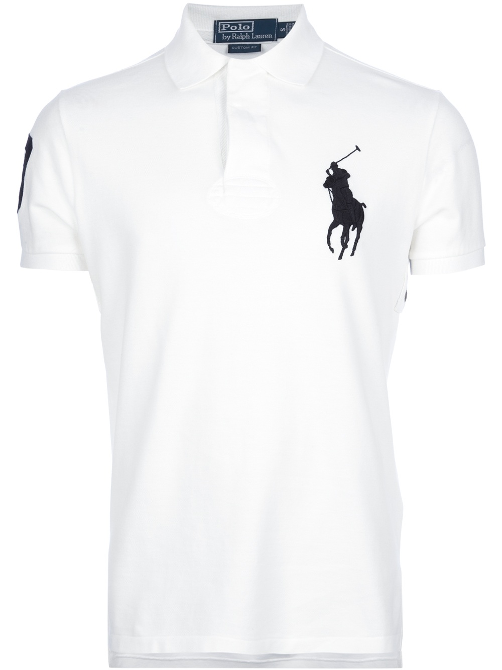 Polo ralph lauren fitted logo polo shirt in white for men for Mens fitted polo shirts