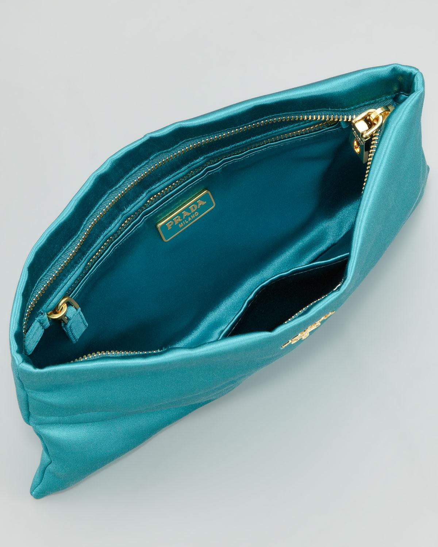 Prada Satin Clutch Bag in Blue (turquoise) | Lyst