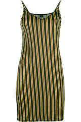 Jean Paul Gaultier Striped Spaghetti Strap Dress - Lyst