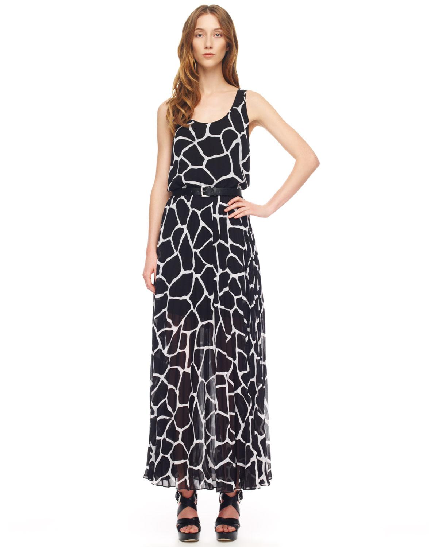Lyst Michael Kors Giraffeprint Chiffon Maxi Dress In Black
