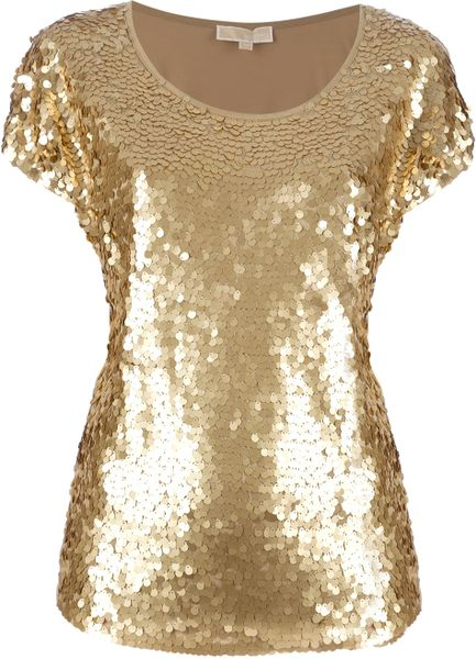 Michael Kors Paillette Top in Gold - Lyst
