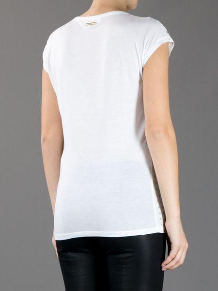 michael kors studded t shirt in white lyst. Black Bedroom Furniture Sets. Home Design Ideas