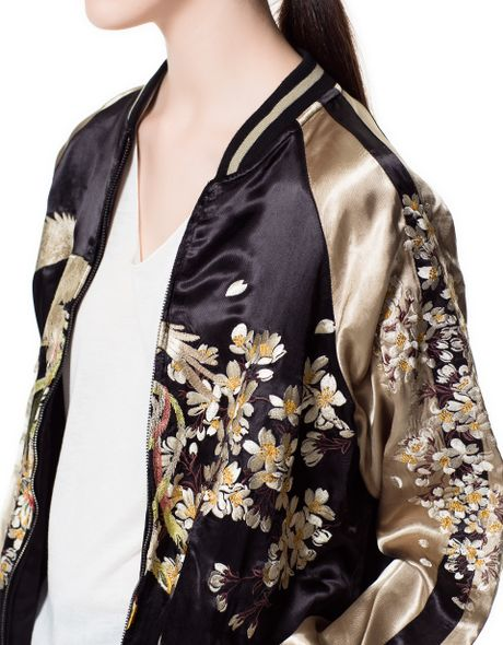Bnwt zara oriental floral gold embroidered bomber