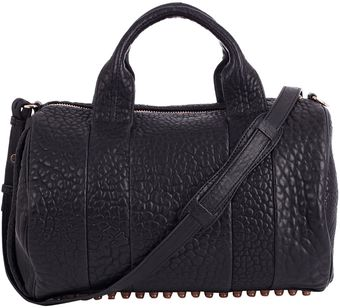 Alexander Wang Black Rocco Pebble Leather Bag with Rose Gold Hardware - Lyst