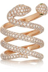 Anita Ko Snake 18karat Rose Gold Diamond and Garnet Ring - Lyst