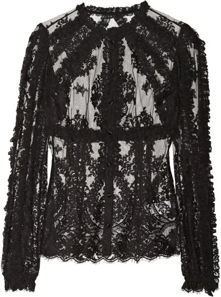 Dolce & Gabbana Ruffled Lace Blouse in Black | Lyst