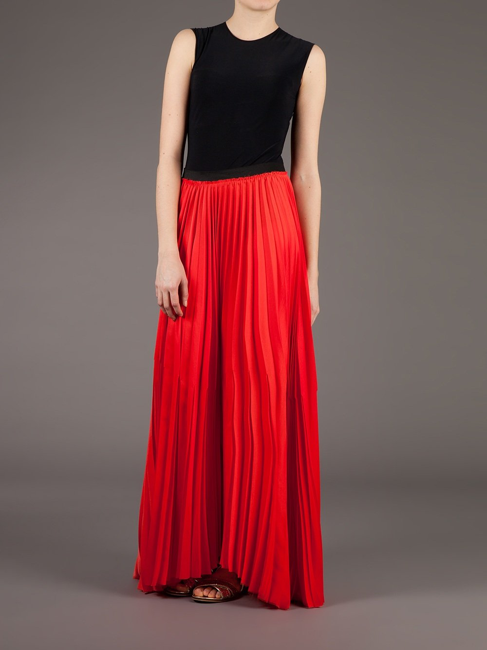 Enza costa Pleated Maxi Skirt in Red | Lyst