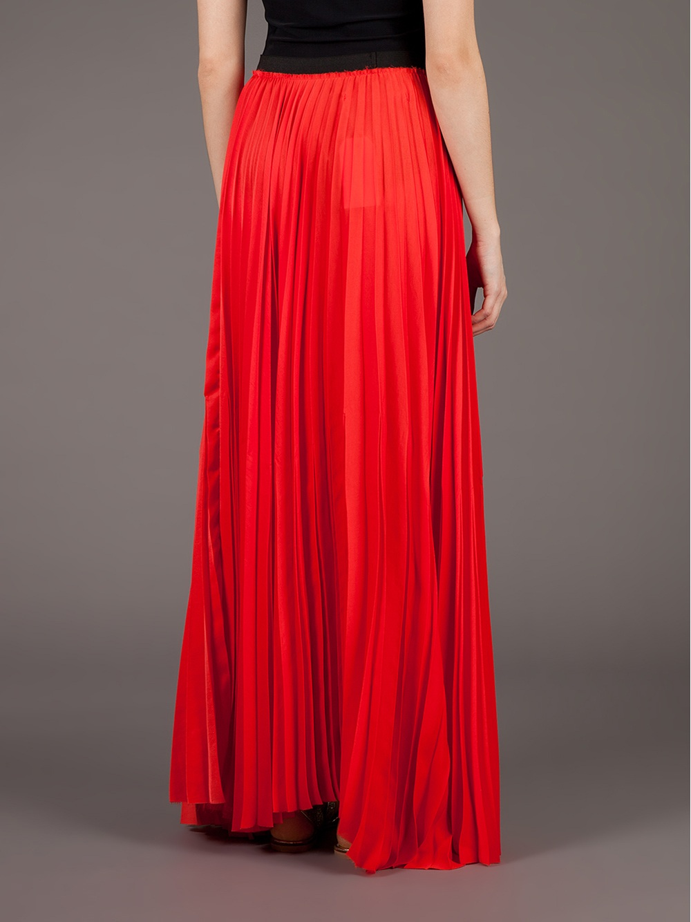 enza costa pleated maxi skirt in