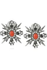 Kenneth Jay Lane Swarovski Crystal Silverplated Clip Earrings - Lyst