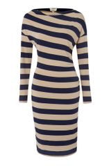 Linea Weekend  Stripe Jersey Cowl Neck Dress - Lyst