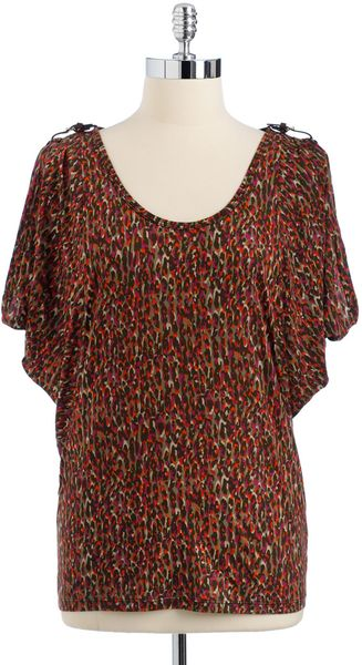 Michael by Michael Kors Coldshoulder Printed Top - Lyst