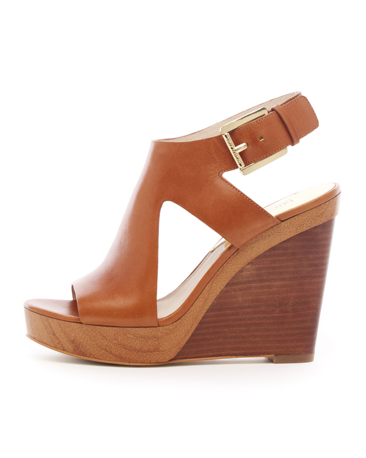 82e601bd67c6 Lyst - Michael Kors Josephine Leather Wedge Sandal in Brown